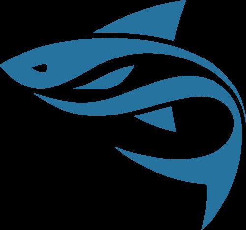 蓝色剪影鱼矢量logo