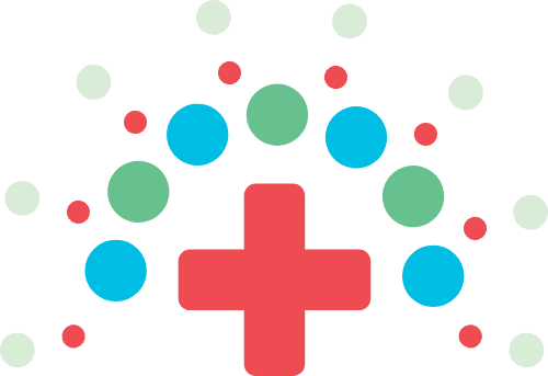 红十字圆形点点矢量图形