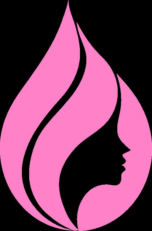 粉色水滴女性美发矢量图形