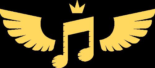 金色翅膀音符矢量图形