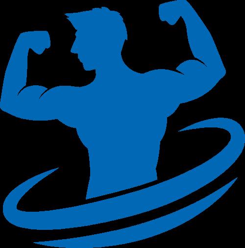 蓝色男士健身矢量图形