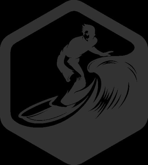 冲浪剪影矢量图形