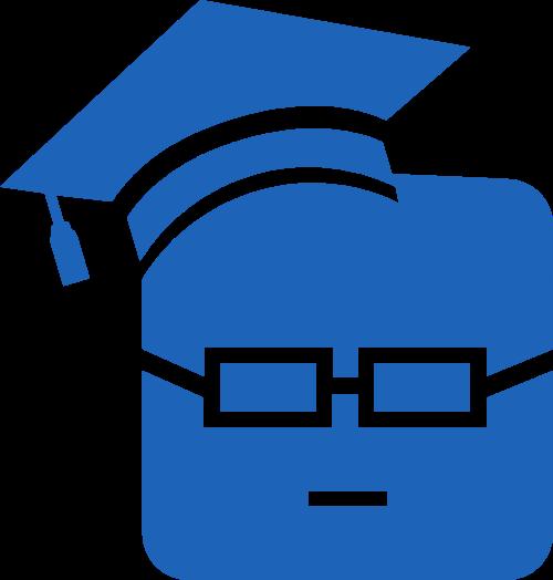 蓝色卡通博士帽矢量图形