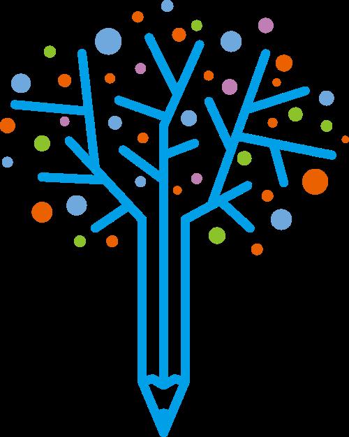 铅笔树创意矢量图形