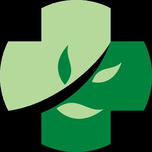 绿色树叶十字图形医疗