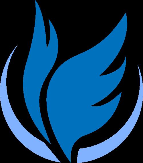 蓝色翅膀羽毛科技风图形