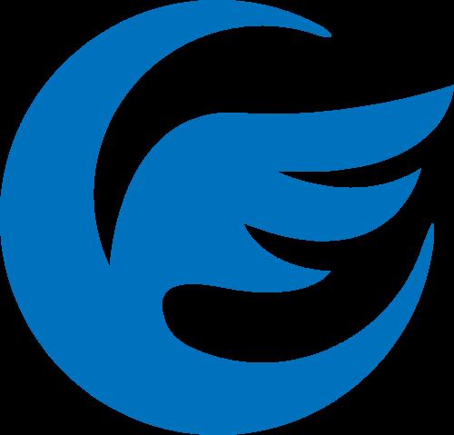 月亮羽毛蓝色科技风图形