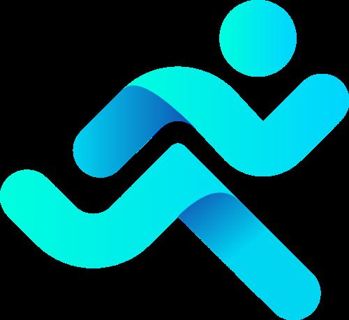 渐变奔跑运动健身小人矢量logo