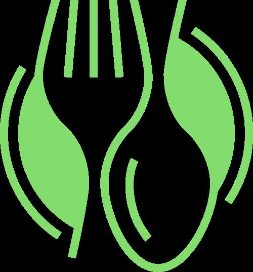 餐具刀叉绿色食物