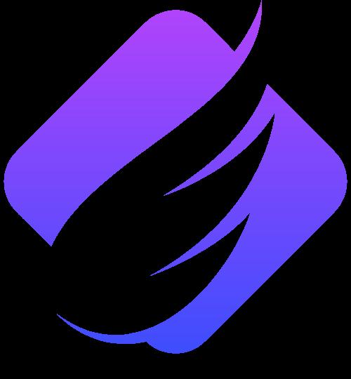 紫色渐变翅膀科技风图形