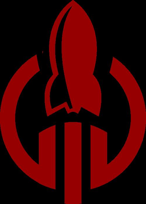 红色卡通火箭科技风图形