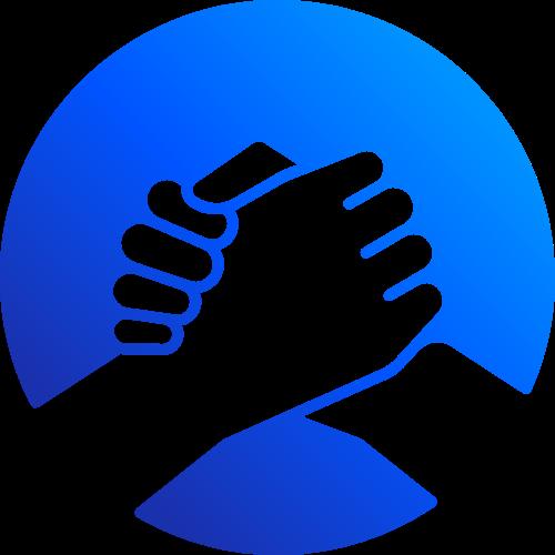 蓝色科技握手合作图形