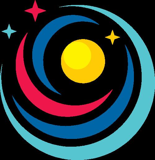 五角星月亮球形图形