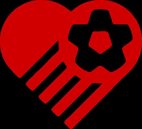 爱心足球运动体育矢量logo