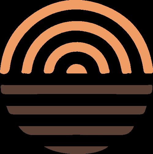 太阳水波日出日落矢量logo